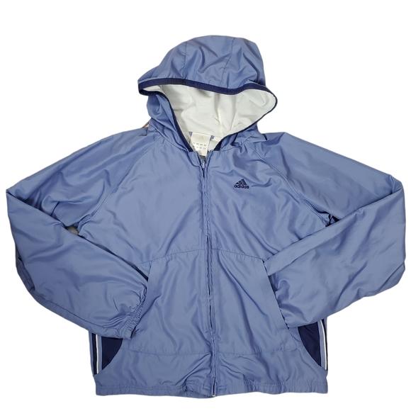 Adidas Blue Full Zip Lined Track Wind Jacket Hood
